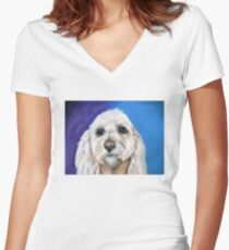 """Chewbacca"" the best fishing buddy.  Women's Fitted V-Neck T-Shirt"