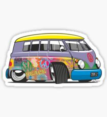 VW split-screen magic bus cartoon Sticker