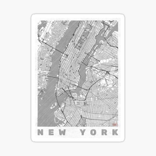 New York Map Line Sticker