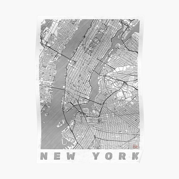 New York Map Line Poster