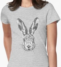 Hare Portrait Ink Drawing Womens Fitted T-Shirt