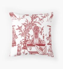 Red Toile Pattern Design Throw Pillow