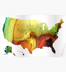 United States of America Map 5 - Colorful USA Poster