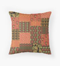 Egyptian Patterns Faux Patchwork Throw Pillow