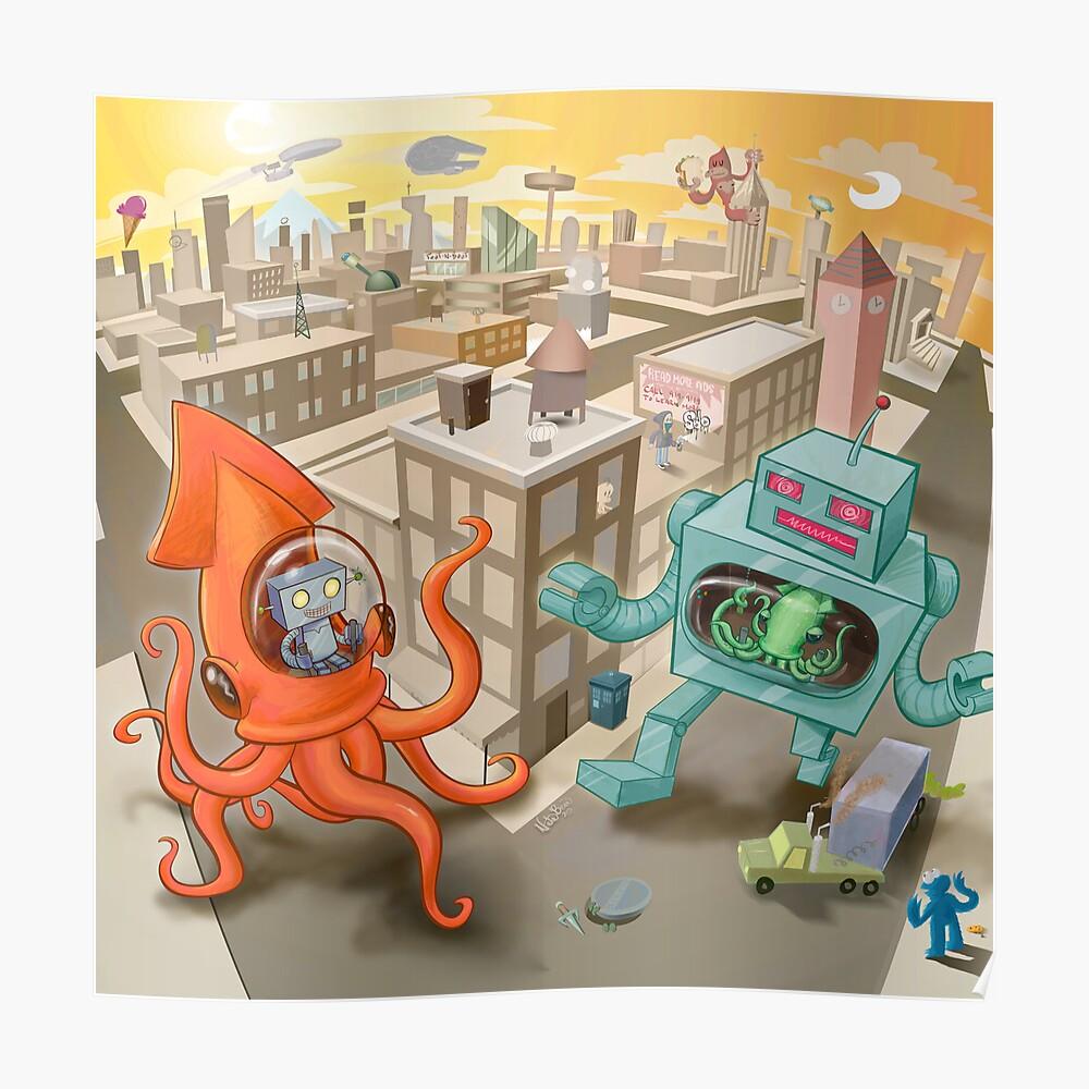 Robot vs. Squid Poster