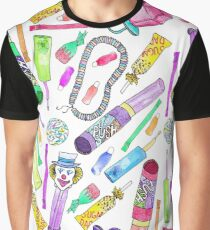 Neon 80's 90's Retro Funny Candy Pattern Graphic T-Shirt