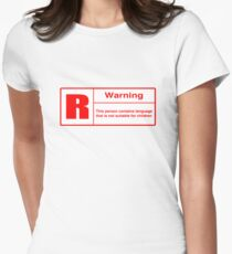 Rated R: Language Warning Women's Fitted T-Shirt
