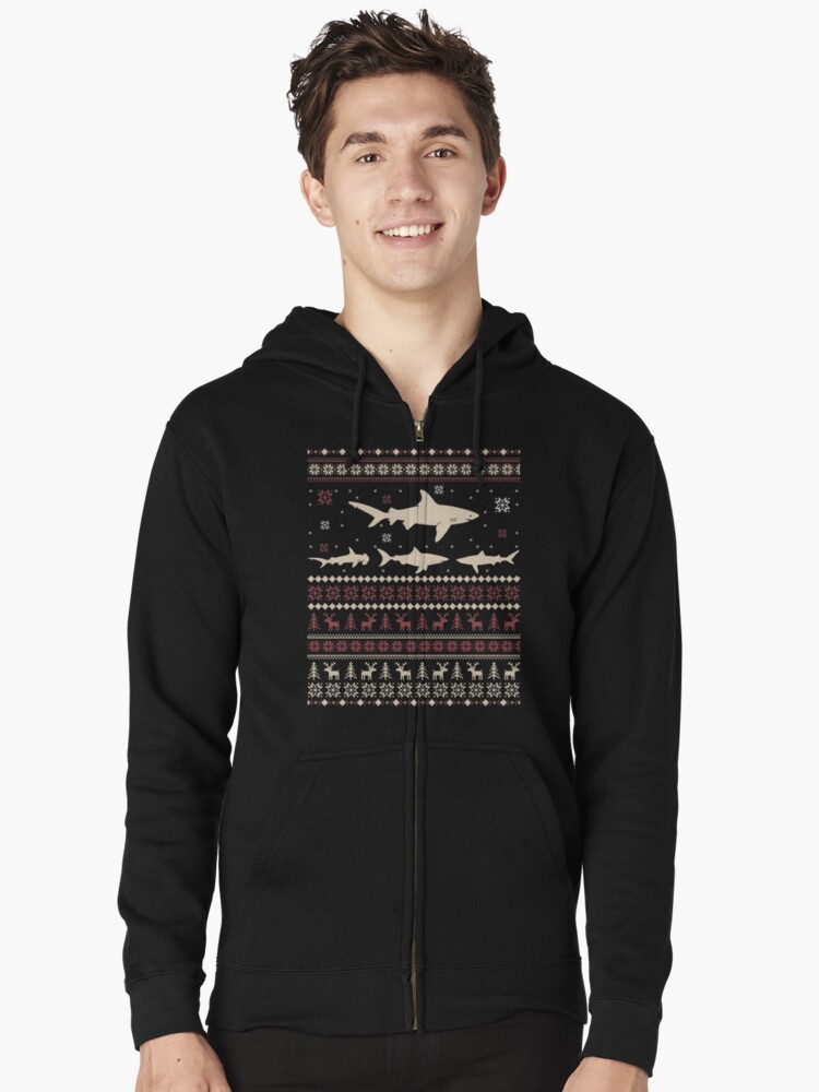 Shark Ugly Christmas Sweater Zipped Hoodie Front
