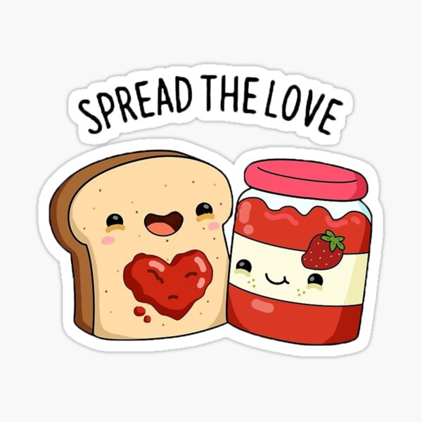 Spread the Love Cartoon Pun Sticker