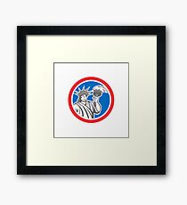 Statue of Liberty Holding Flaming Torch Circle Retro Framed Print