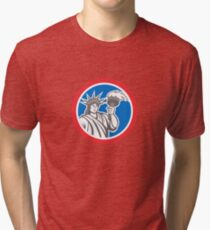 Statue of Liberty Holding Flaming Torch Circle Retro Tri-blend T-Shirt