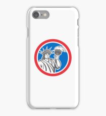 Statue of Liberty Holding Flaming Torch Circle Retro iPhone Case/Skin
