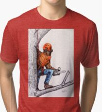 Arborist Tree Surgeon Lumberjack Logger Stihl chainsaw Tri-blend T-Shirt