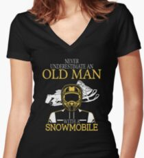 Never Underestimate An Old Man With A Snowmobile Women's Fitted V-Neck T-Shirt