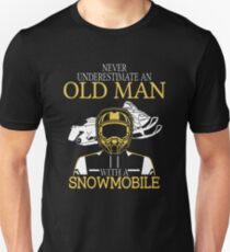 Never Underestimate An Old Man With A Snowmobile T-Shirt