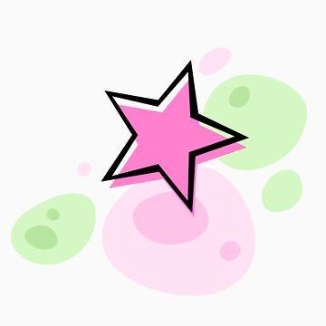 Offset star, pink and green - sticker de Mhea