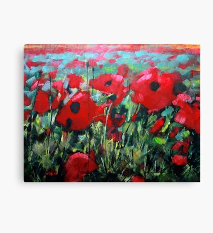Field of Poppies. Painting by Samuel Durkin Canvas Print