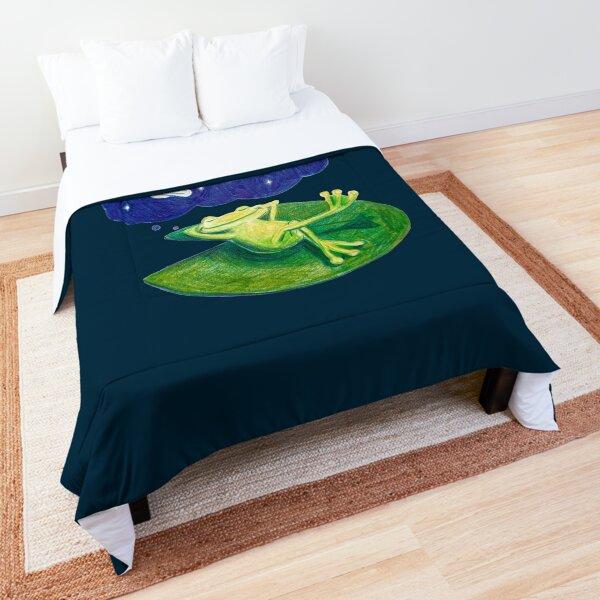 Frosch schläft auf Seerosenblatt und träumt vom Weltall Tagesdecke