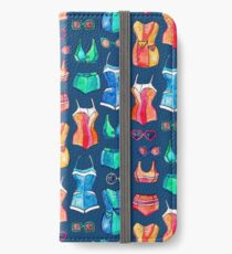 Sixties Swimsuits and Sunnies on dark blue iPhone Wallet