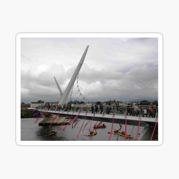 Opening of Derry Peace Bridge  -Derry Ireland Sticker