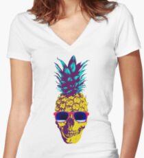 Pineapple Skull Women's Fitted V-Neck T-Shirt