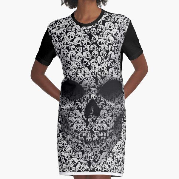 Too Many Skulls by Julia Art Graphic T-Shirt Dress