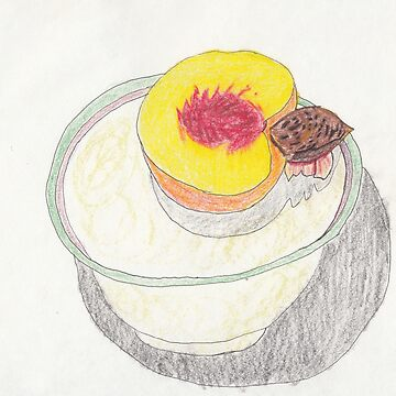 Peach in Bowl - Colored Pencil by withak