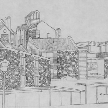 Stone apartment complex drawing by withak