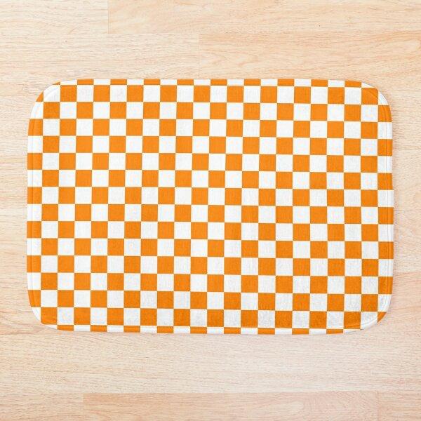 Orange/white end zone checkered pattern Bath Mat