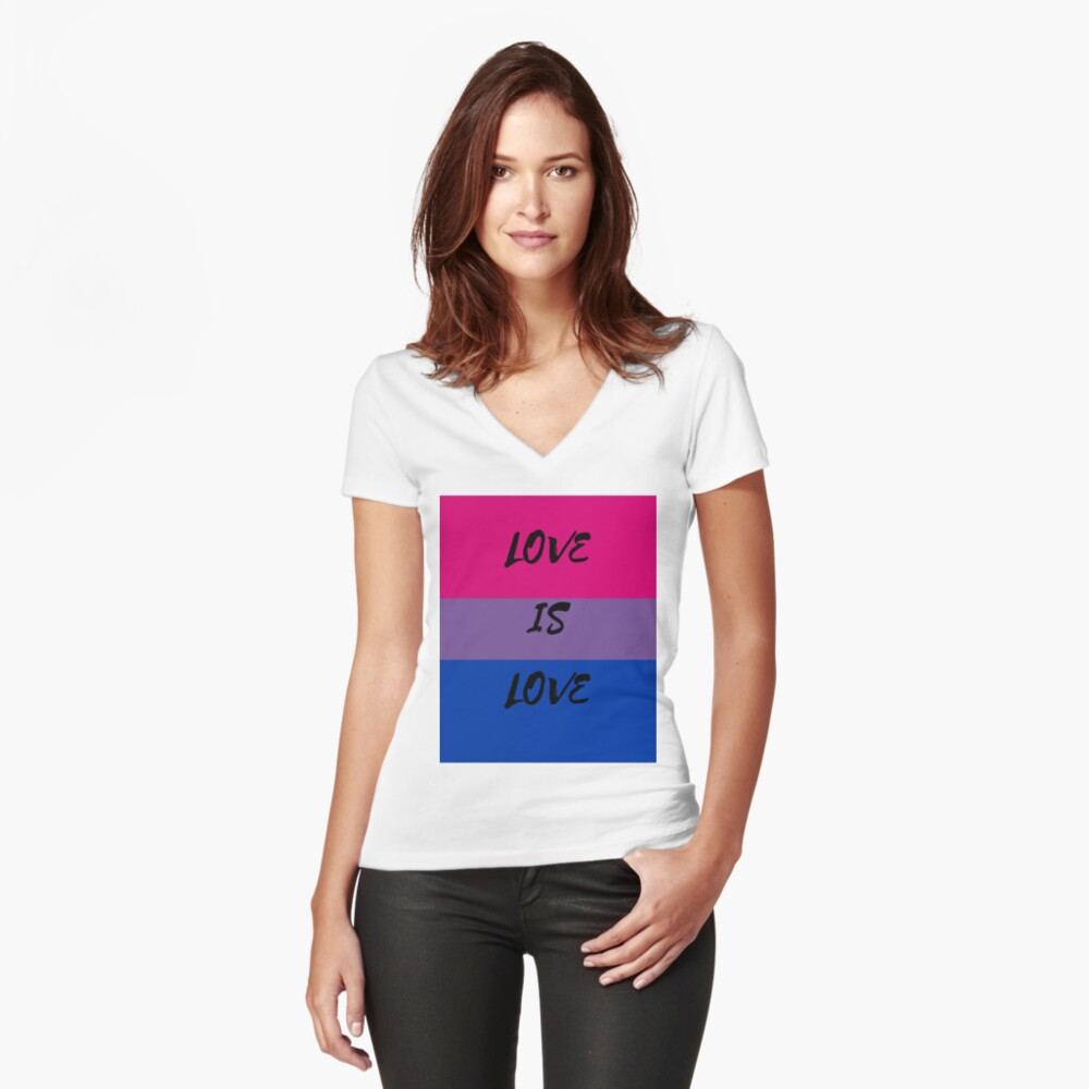 LOVE IS LOVE - bisexual flag Fitted V-Neck T-Shirt