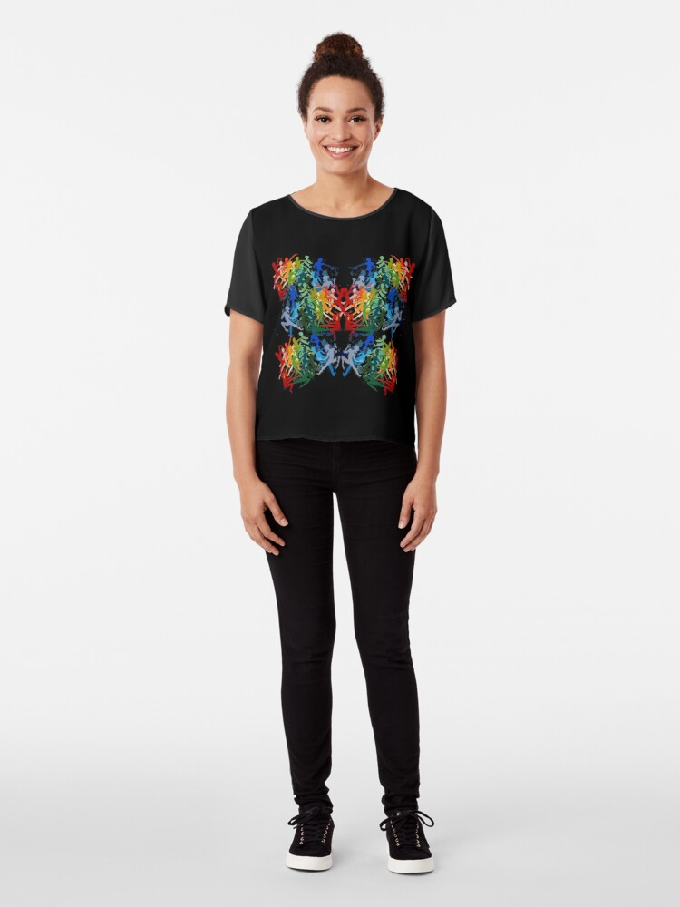Alternate view of Rainbow pixie butterfly Chiffon Top