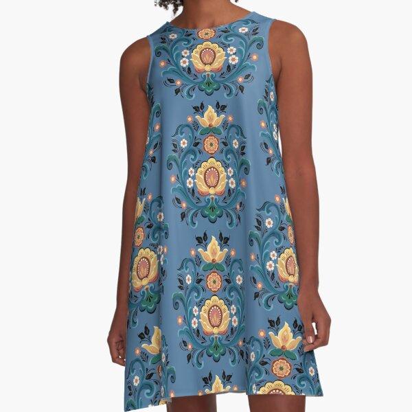 Rosemaling Gold and Burgandy A-Line Dress