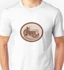 Vintage Farm Tractor Driver Waving Circle Retro Unisex T-Shirt