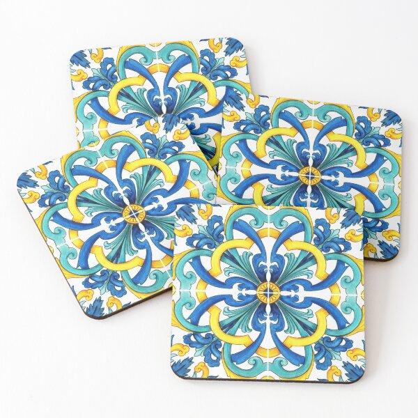 Hand drawn watercolor mediterranean sicilian traditional tiles Coasters (Set of 4)
