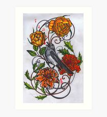 singing magpie in marigolds and roses Art Print