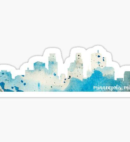 Minneapolis, Minnesota Watercolor Skyline Sticker