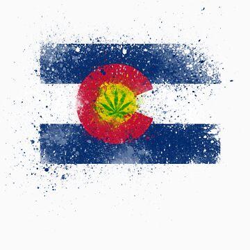 Colorado Flag Splatter w/ Cannabis Leaf by tychilcote