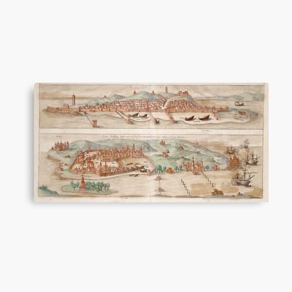 Goa City Map, 1572 Canvas Print