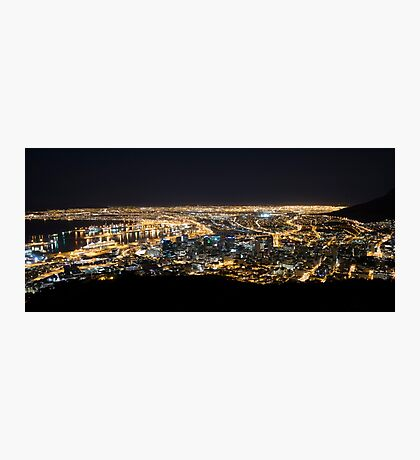 Cape Town by Night with Queen Mary 2 in Port Photographic Print