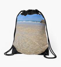 Golden Ripples of Liquid Sunlight Drawstring Bag