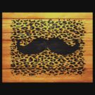 Black Mustache Leopard Print on Yellow Wood by Nhan Ngo
