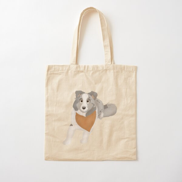 Cartoony Shetland Sheepdog Illustration Cotton Tote Bag