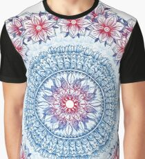 Red, Blue & White Floral Medallion Graphic T-Shirt
