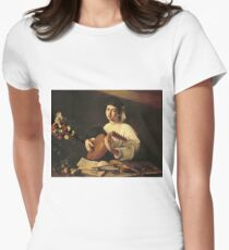 Michelangelo Merisi Da Caravaggio - The Lute Player. Man portrait: Young man, curly head, young, secular,  lute, player, musician,  music,  violin, sexy men, Roses  Womens Fitted T-Shirt