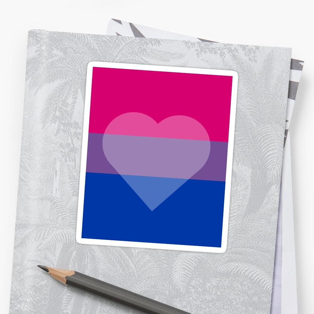 Bisexual Flag + Transparent Heart Sticker