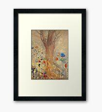 Odilon Redon - The Buddha 1904. Garden landscape: garden, trees and flowers, blossom, nature, Buddha , buddhism, meditating, think, meditation, relaxation, rest Framed Print