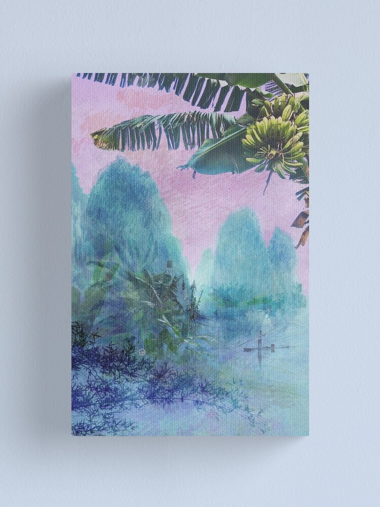 Alternate view of Banana tree & Pink Sunset Mountainscape  Canvas Print