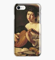Michelangelo Merisi Da Caravaggio - The Lute Player. Man portrait: Young man, curly head, young, secular,  lute, player, musician,  music,  violin, sexy men, Roses  iPhone Case/Skin