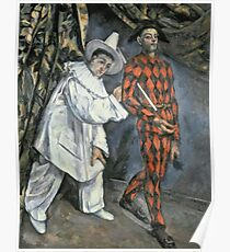 Paul Cezanne - Pierrot And Harlequin. Man portrait:  circus, clown, clowns, costume, harlequin, Pierrot, boyfriend, smile, funnyman, sexy men, ruff Poster
