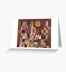 Paul Klee - Castle And Sun. Abstract painting: abstract art, geometric, Castle , composition, lines, forms, Sun, spot, shape, illusion, fantasy future Greeting Card